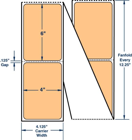 "Compulabel 520174 4"" x 6"" Pastel Orange Fanfold Direct Thermal Labels"