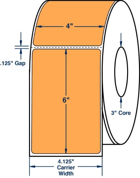 "Compulabel 520328 4"" x 6"" Fluorescent Orange Direct Thermal Labels"