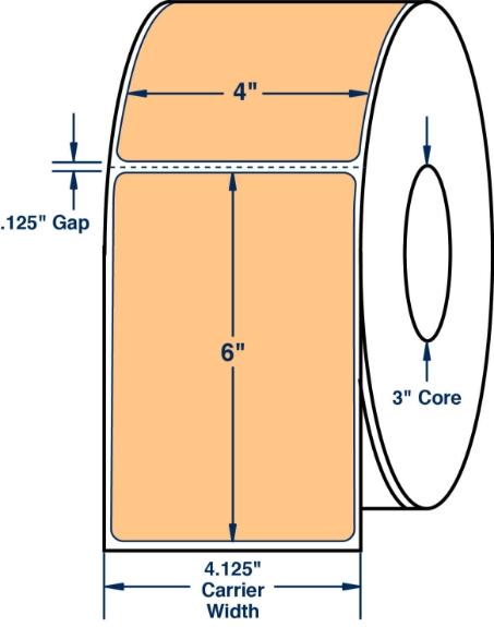 "Compulabel 520350 4"" x 6"" Pastel Orange Direct Thermal Labels"