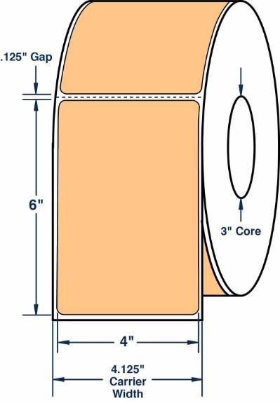 "Compulabel 640078 4"" x 6"" Pastel Orange Thermal Transfer Labels"