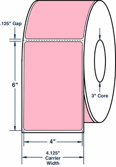 "Compulabel 640080 4"" x 6"" Pastel Pink Thermal Transfer Labels"