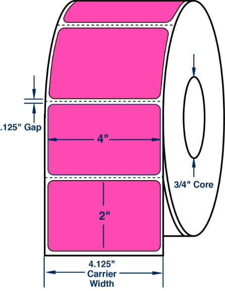"Compulabel 640234 4"" x 2"" Fluorescent Pink Thermal Transfer Labels"