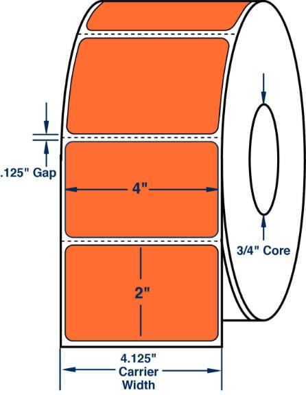 "Compulabel 640289 4"" x 2"" Orange Thermal Transfer Labels"