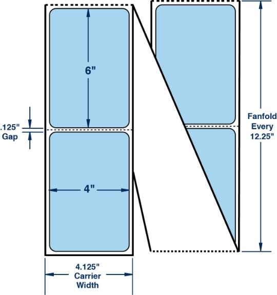 "Compulabel 640344 4"" x 6"" Pastel Blue Fanfold Thermal Transfer Labels"