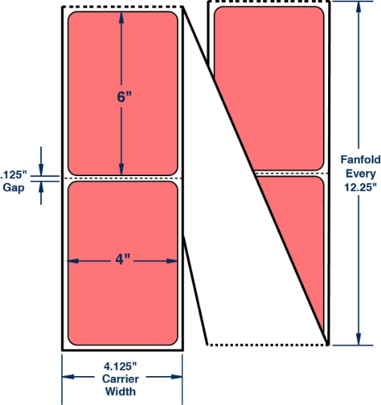 """Compulabel 640432 4"""" x 6"""" Fluorescent Red Fanfold Thermal Transfer Labels"""