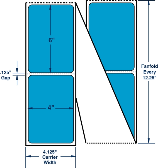 """Compulabel 640454 4"""" x 6"""" Fluorescent Blue Fanfold Thermal Transfer Labels"""