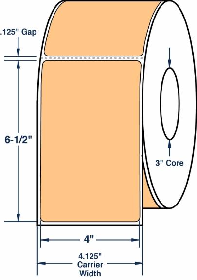 "Compulabel 640528 4"" x 6-1/2"" Pastel Orange Thermal Transfer Labels"