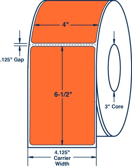 "Compulabel 640618 4"" x 6-1/2"" Orange Thermal Transfer Labels"